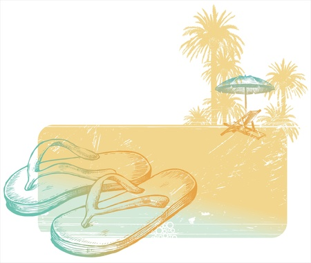 Hand drawn vector illustration - slippers on a tropical beach Vector