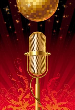 microfono radio: Micr�fono retro & bola de discoteca - ilustraci�n vectorial ornamentada Vectores