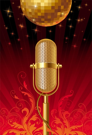 gold record: Retro microphone & disco ball - ornate vector illustration