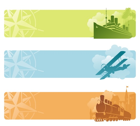 biplane: Vector banners - Retro transport Illustration