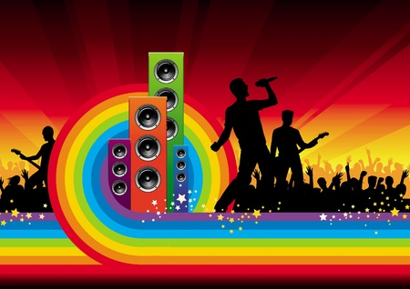 strip show: Abstract vector background - concert of rock band Illustration