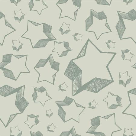 star background: Hand drawn stars - vector seamless background