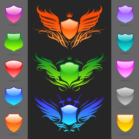Vector Set of glossy heraldic shields Vector