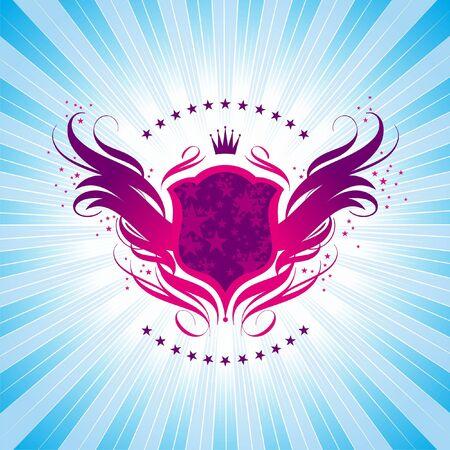 escudo de armas: Luminoso escudo, corona y ardientes alas - vector escudo Vectores