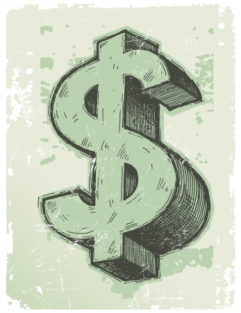 signo pesos: Mano vector dibujado signo de d�lar Vectores