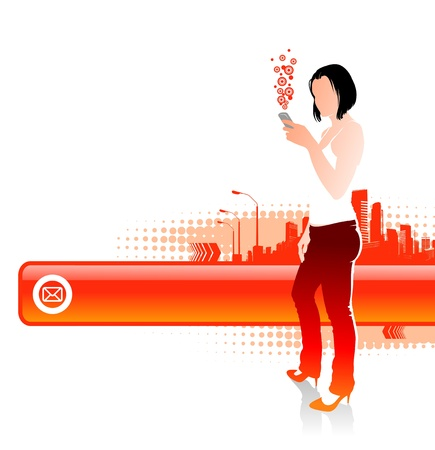 Girl with cellphones on a cityscape landscape - vector illustration with frame for text Vector