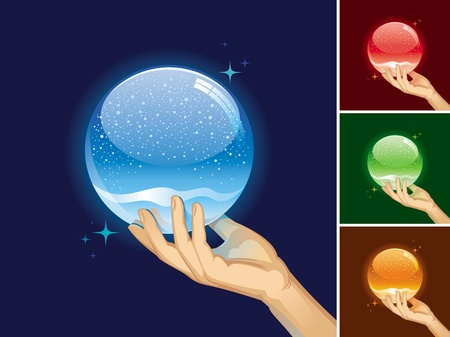 hands holding globe: Vector empty snow globe for your object Illustration