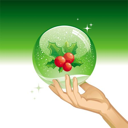 Vector snow globe with Holly berries Vector