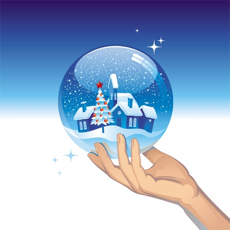 hands holding tree: Vector snow globe with small town