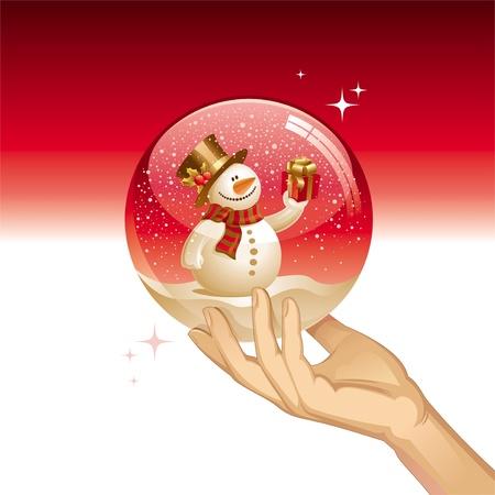 Vector snow globe with snowman Vector