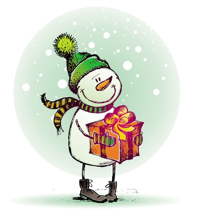 botas de navidad: Mano dibujada mu�eco de nieve con regalo - ilustraci�n de vacaciones vector Vectores