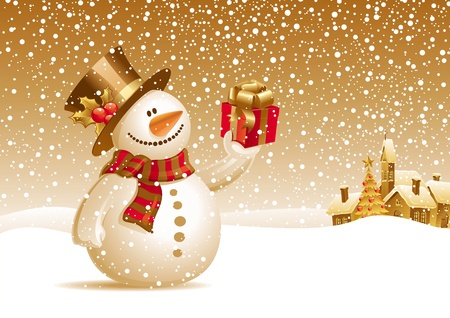 snowing: Smiling snowman with gift on a christmas landscape - vector illustration