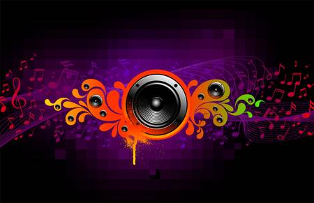 audio wave: Abstract vector musical illustration with loudspeakers