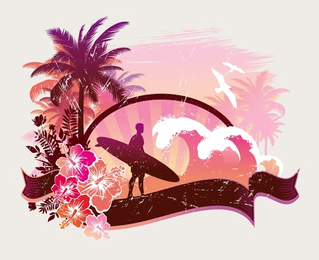 Surfista en una playa tropical - ilustración vectorial