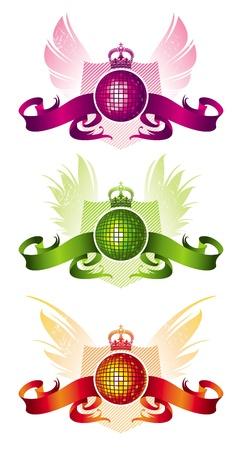 Vector heraldic musical emblem with disco ball Vector