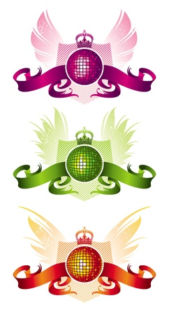 Vector heraldic musical emblem with disco ball Vector