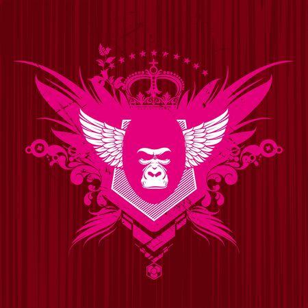 primacy: Vector heraldic emblem with gorilla head Illustration