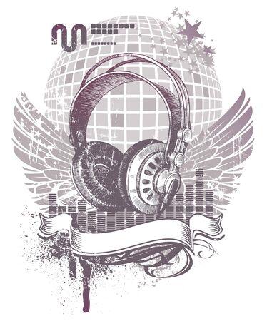 audifonos: Vector her�ldico con hend dibujado auriculares