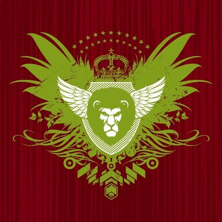 of lions: Escudo her�ldico vectorial con cabeza de Le�n