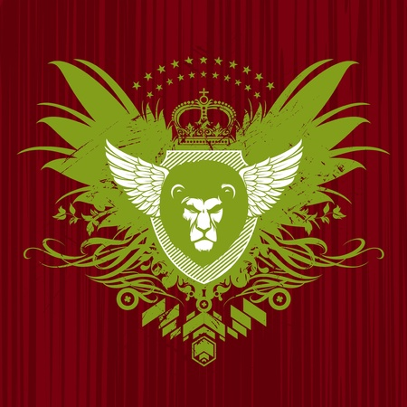Vector Heraldic emblem with lion head Vector