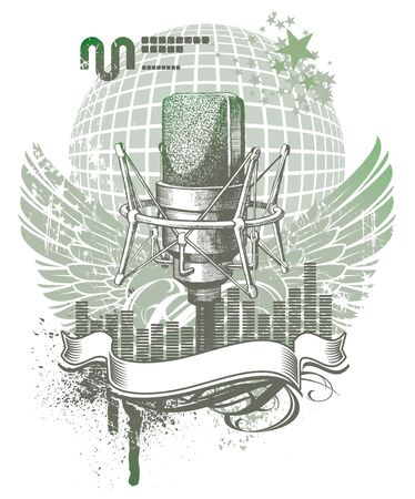 mic: Emblema araldico vettoriale con microfono disegnato a mano
