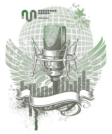 microfono radio: Emblema her�ldico vector con micr�fono dibujado a mano Vectores