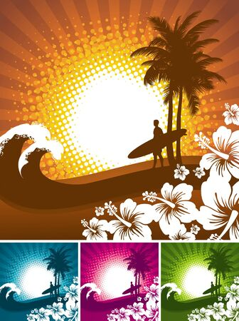 surfer: Hibiscus and surfer silhouettes on a tropical beach landscape - vector illustartion Illustration