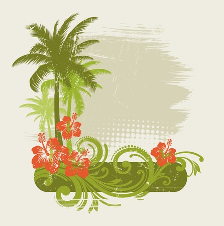 tropical climate: Hibiscus with ornament and palms - vector illustration