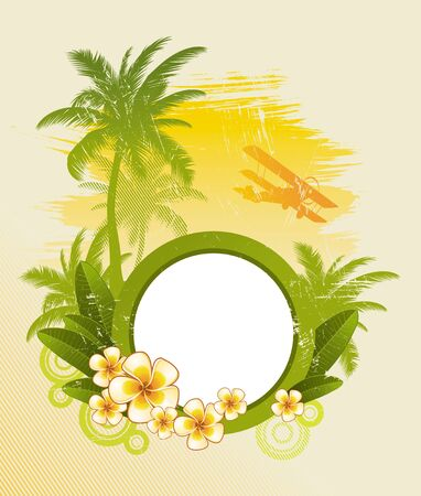 biplane: Round frame for text & tropical flora - vector illustration