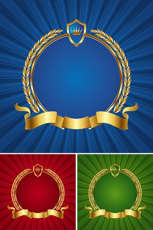 Round golden vector frame with ribbon and wreath Vector