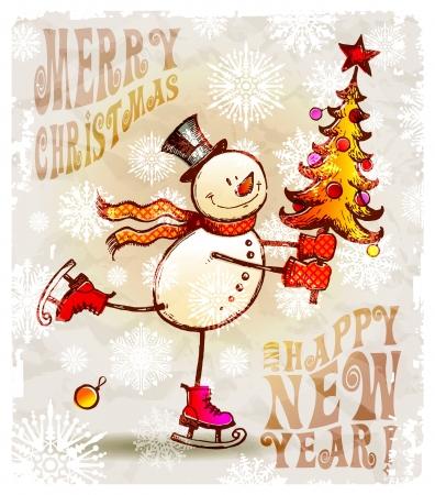 patinaje: Patinaje feliz mu�eco de nieve con el �rbol de Navidad - ilustraci�n vectorial de dibujado a mano