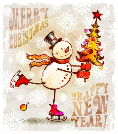 the snowman: Skating happy snowman with christmas tree - hand drawn vector illustration Illustration