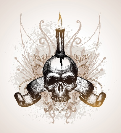 Hand drawn vector illustration - Skull, scroll and candle Vector