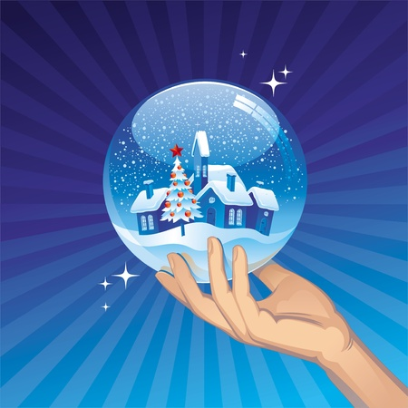 hands holding tree: Small town in snow globe - vector holidays illustration
