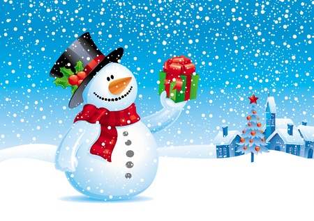 the snowman: Smiling snowman with gift - vector christmas illustration Illustration
