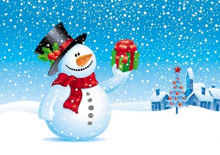 snowballs: Sorridente pupazzo di neve con regalo - vector illustration Natale Vettoriali