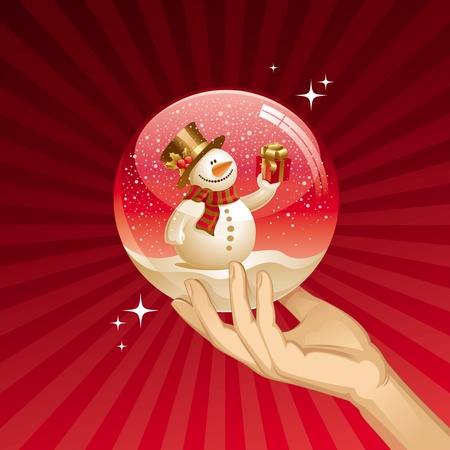 Snowman with gift in a snow globe - vector Christmas illustration Vector