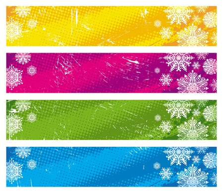 blizzards: Vector grunge banners with snowflakes Illustration