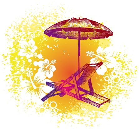Vector hand drawn illustration - beach chair & umbrella on a tropical background Vector