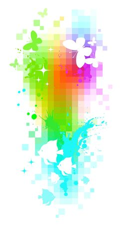 Abstract vector pixel background - butterflies & tropical fishes Vector