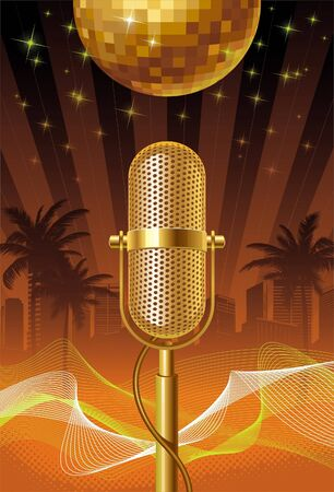 talk show: Retro microphone & disco ball on a tropical cityscape - vector illustration Illustration