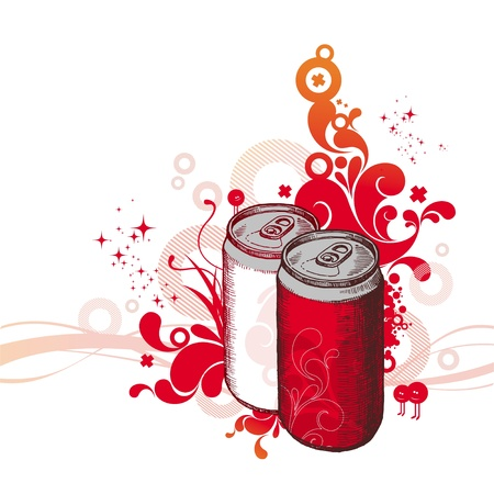 food storage: Vector ornate hand drawn illustration - cola cans