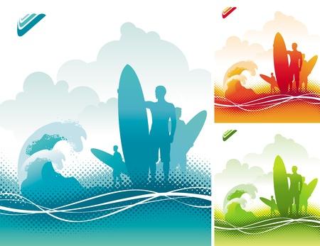 Team di surfisti su una costa - illustrazione vettoriale