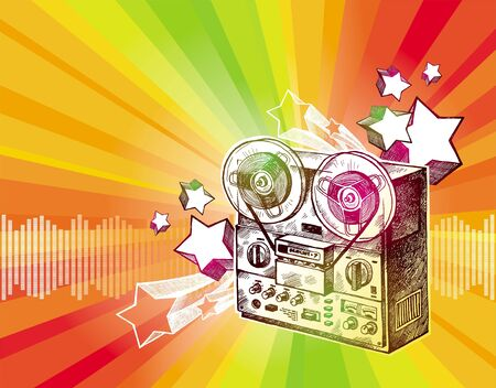 Hand drawn reel recorder & retro stars - vector illustration Vector