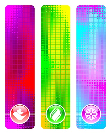 Three abstract vector banner & icons Vector