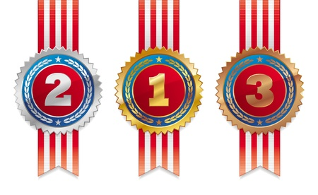 winning first: Three americans vector medals with ribbon - gold, silver and bronze