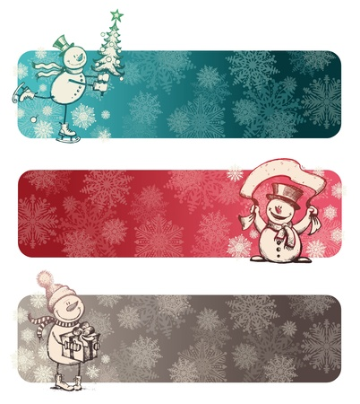 Three vector chrismas banners with hand drawn snowmans