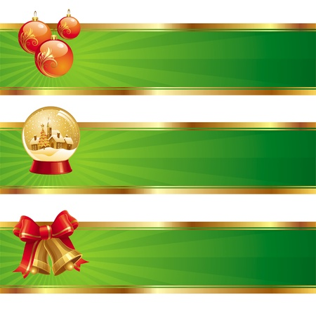 Three vector christmas banners with holidays symbols Vector