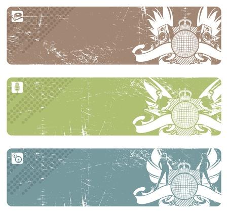 acustica: Tre banner discoteca vettore orizzontale con emblema