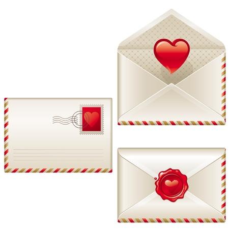 Three love letters - vector Valentines illustration Vector